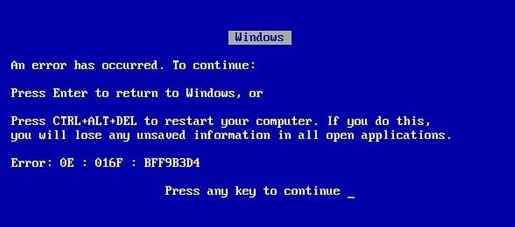 blue screen of death error screenshot