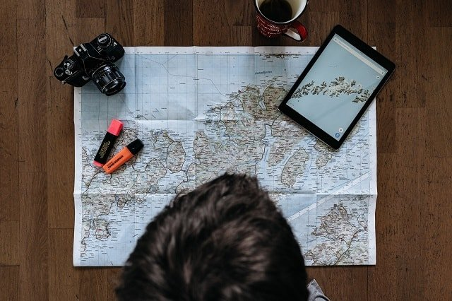 looking at a map for decision-making on your trip