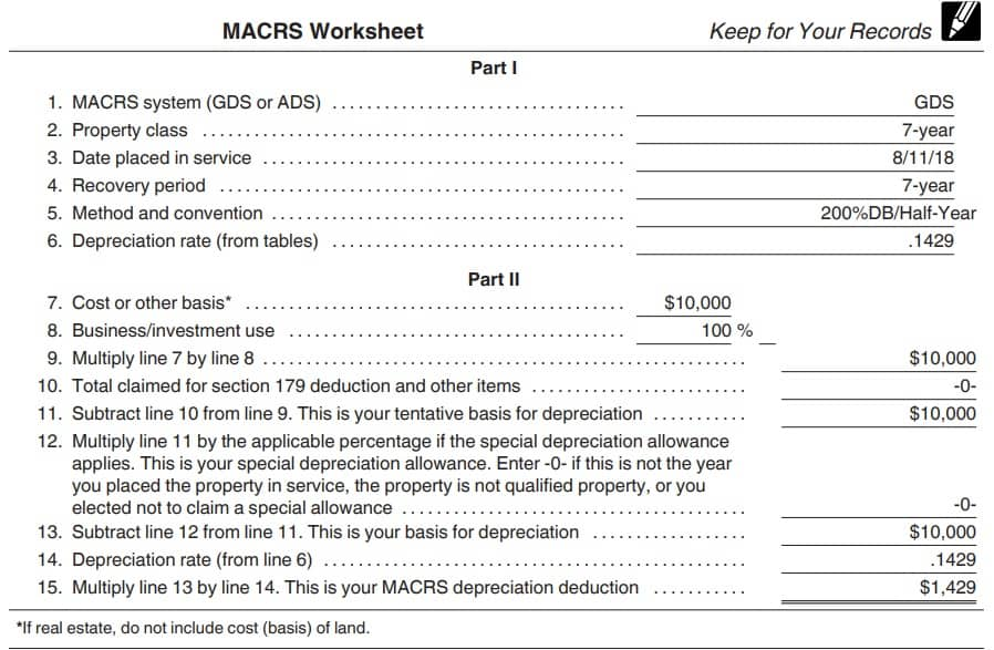 macrs depreciation tables furniture example