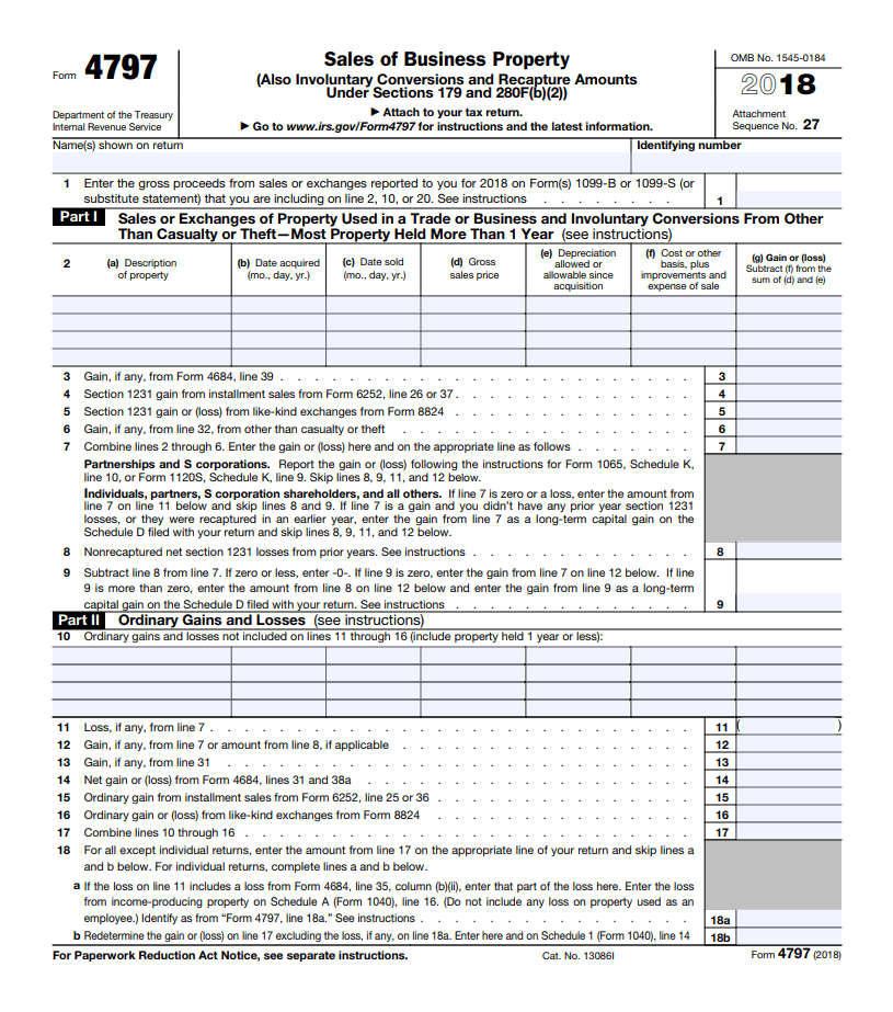 form 4797 - sale of business