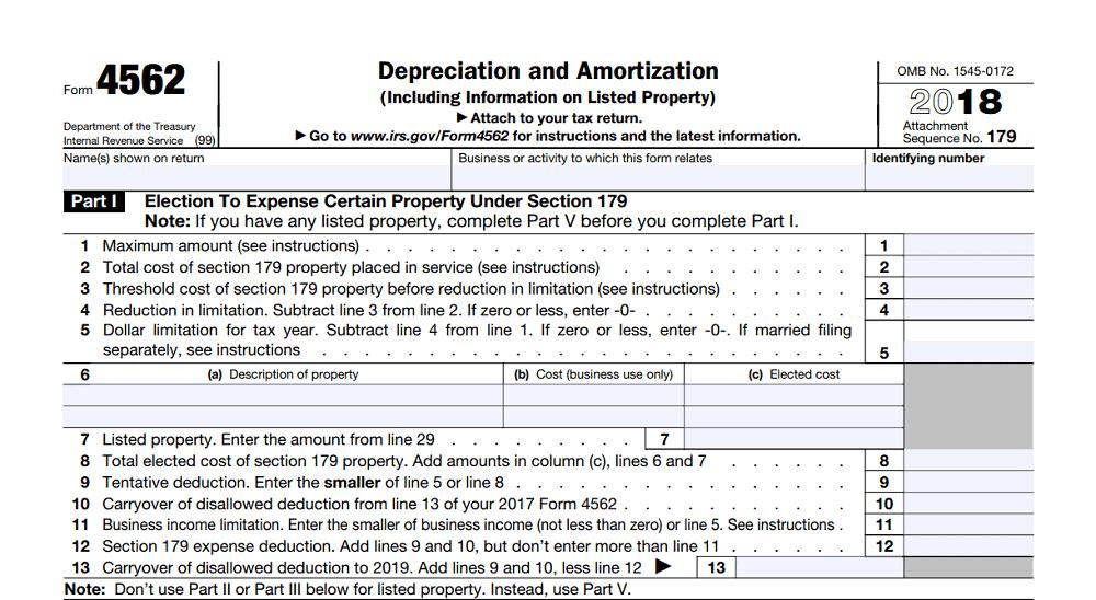 Section 179 Deduction, Form 4562, Part 1