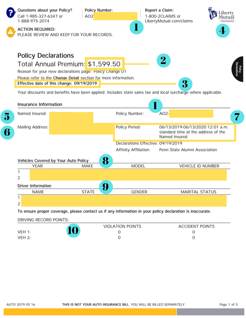 auto insurance declarations page example