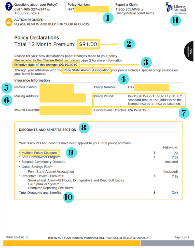 renters insurance declaration page example