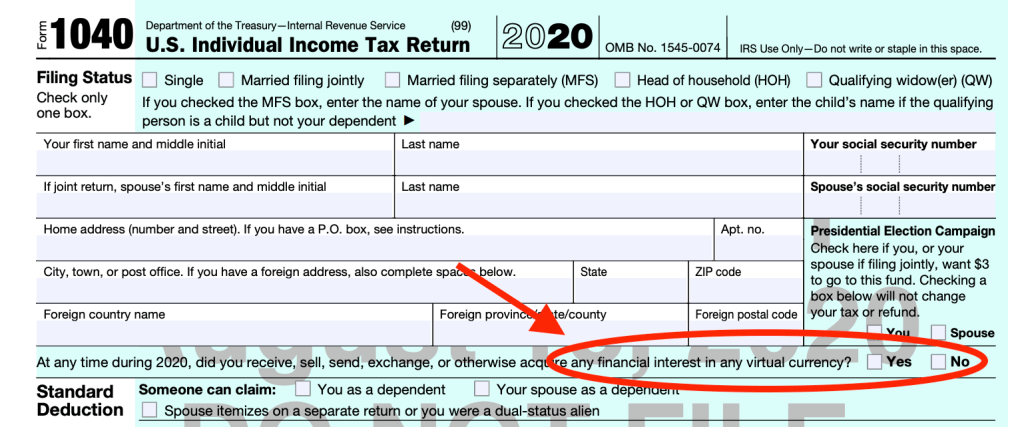 form 1040 cryptocurrency question