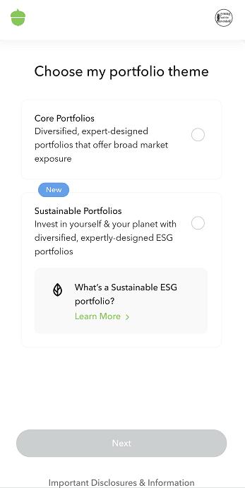 acorns choose portfolio theme sign up