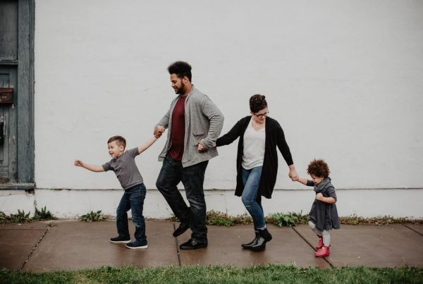 haven life insurance family of four walking down street