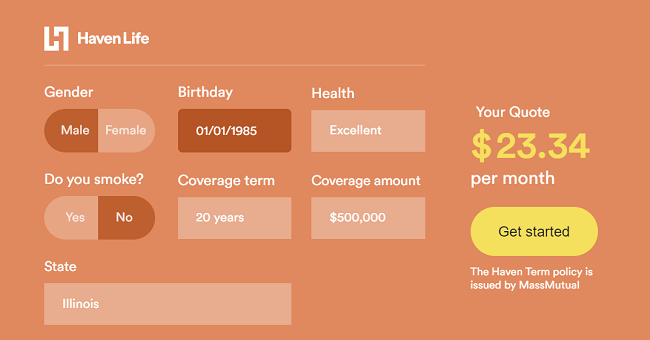 haven life policy calculator