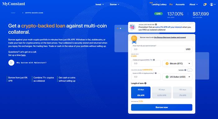 myconstant crypto borrow sign up