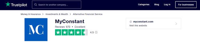 myconstant trust pilot reviews