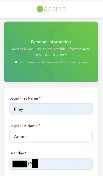 personal information input acorns sign up