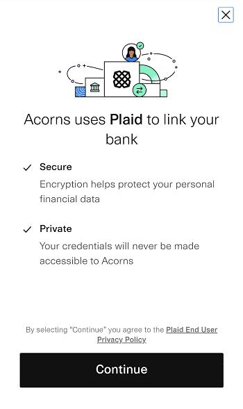 plaid bank account integration acorns sign up