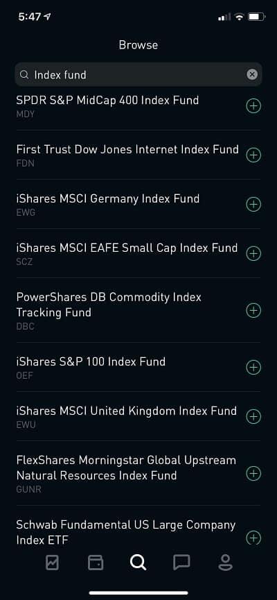 robinhood index fund list