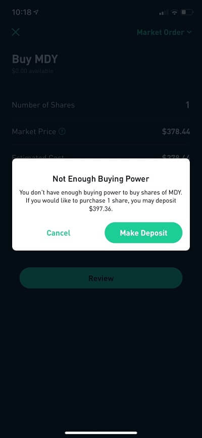 robinhood index funds not enough buying power