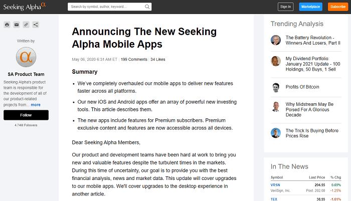 seeking alpha app