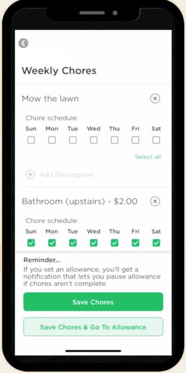 weekly chores screen greenlight