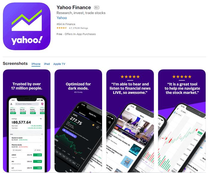 yahoo finance app store
